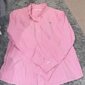 Vineyard Vines pink and white polo
